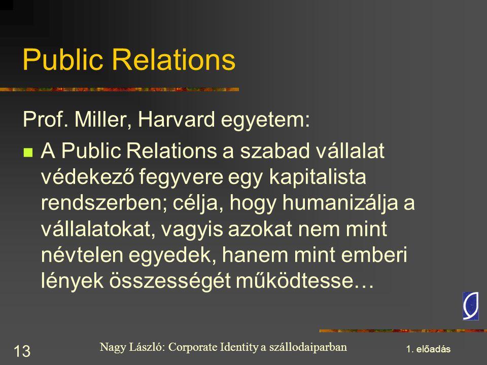 Public Relations Prof. Miller, Harvard egyetem: