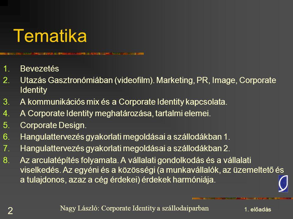 Tematika Bevezetés. Utazás Gasztronómiában (videofilm). Marketing, PR, Image, Corporate Identity.