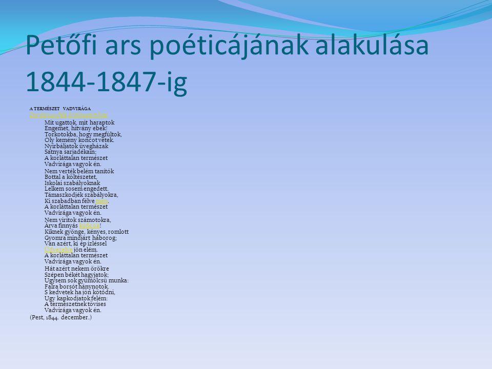 Petőfi ars poéticájának alakulása 1844-1847-ig