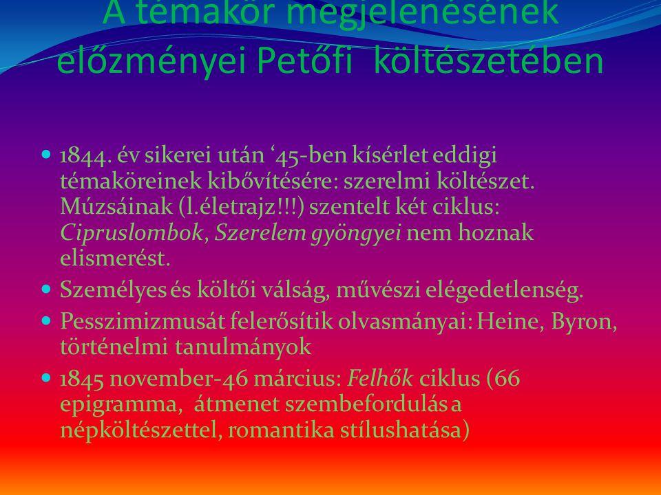 A témakör megjelenésének előzményei Petőfi költészetében