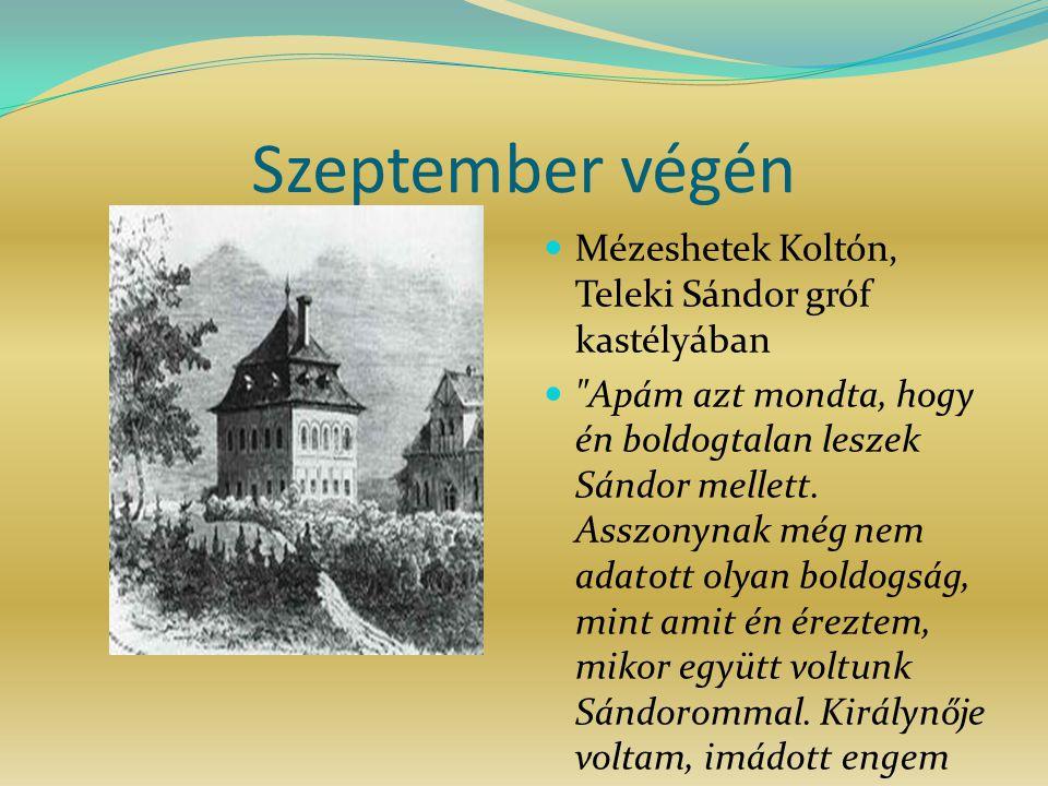Szeptember végén Mézeshetek Koltón, Teleki Sándor gróf kastélyában