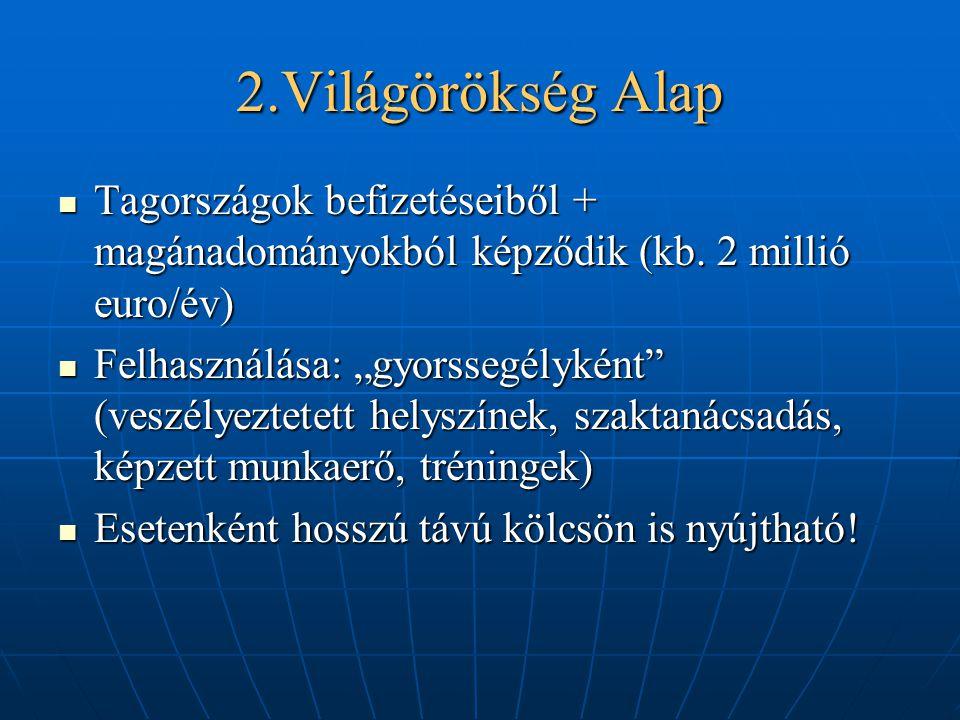 2.Világörökség Alap Tagországok befizetéseiből + magánadományokból képződik (kb. 2 millió euro/év)
