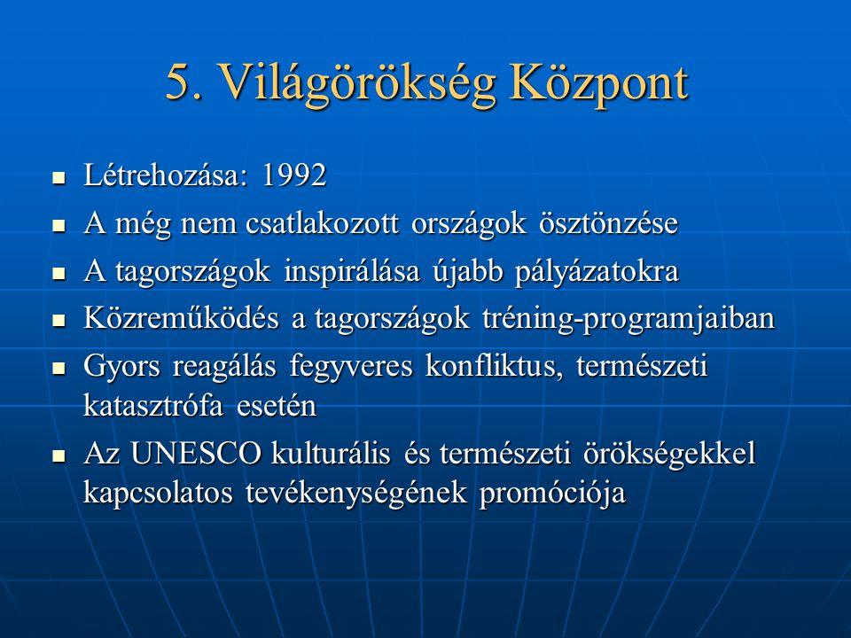5. Világörökség Központ Létrehozása: 1992