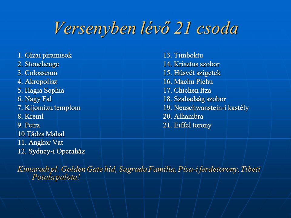 Versenyben lévő 21 csoda 1. Gízai piramisok 13. Timboktu. 2. Stonehenge 14. Krisztus szobor.