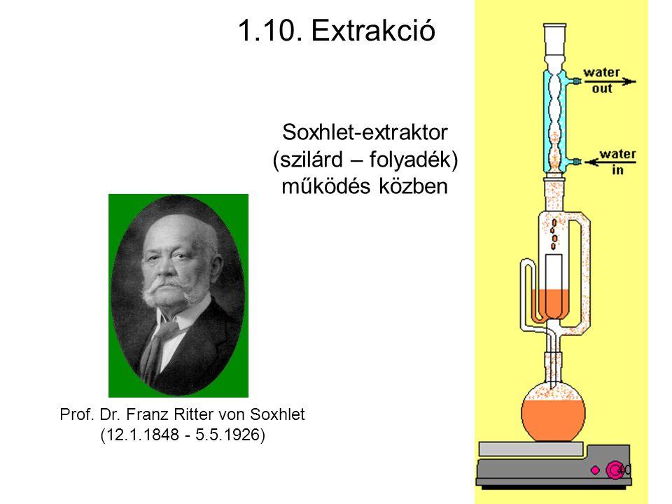 1.10. Extrakció Soxhlet-extraktor (szilárd – folyadék) működés közben
