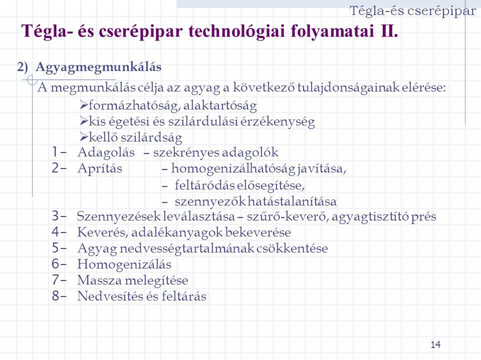 Tégla- és cserépipar technológiai folyamatai II.