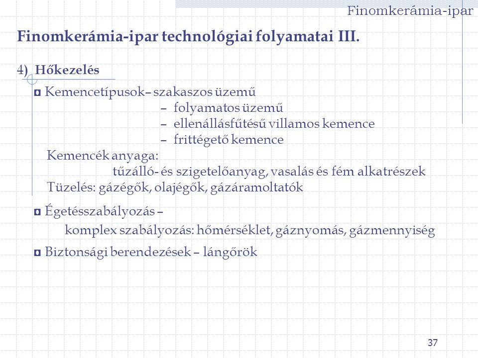Finomkerámia-ipar technológiai folyamatai III.