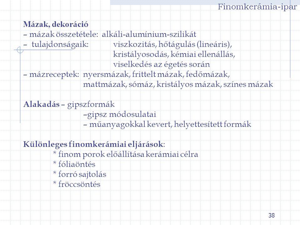 Finomkerámia-ipar Mázak, dekoráció. – mázak összetétele: alkáli-alumínium-szilikát. – tulajdonságaik: viszkozitás, hőtágulás (lineáris),