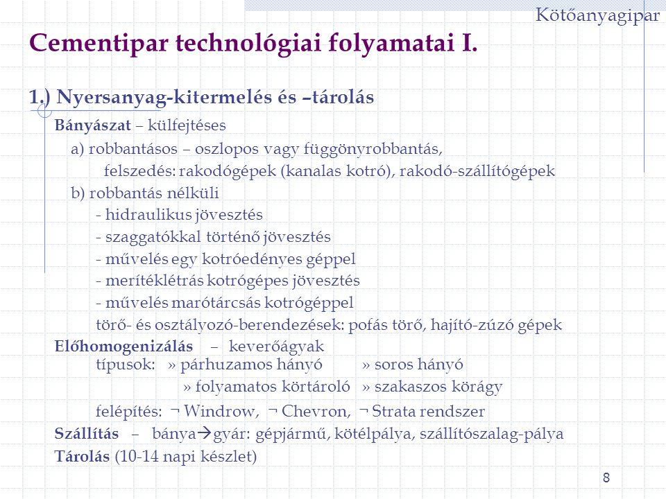 Cementipar technológiai folyamatai I.