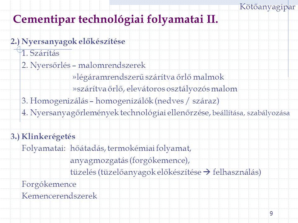 Cementipar technológiai folyamatai II.