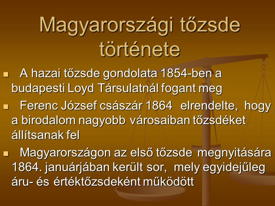 Magyarországi tőzsde története
