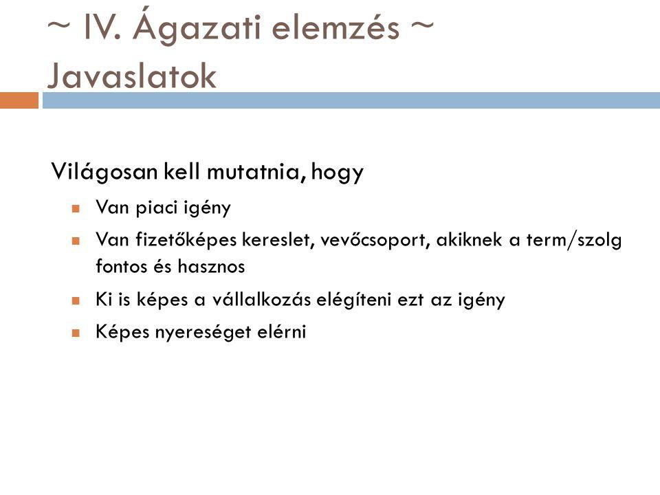 ~ IV. Ágazati elemzés ~ Javaslatok