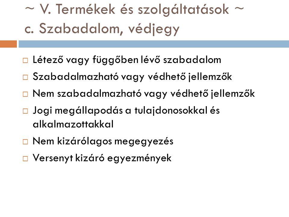 ~ V. Termékek és szolgáltatások ~ c. Szabadalom, védjegy