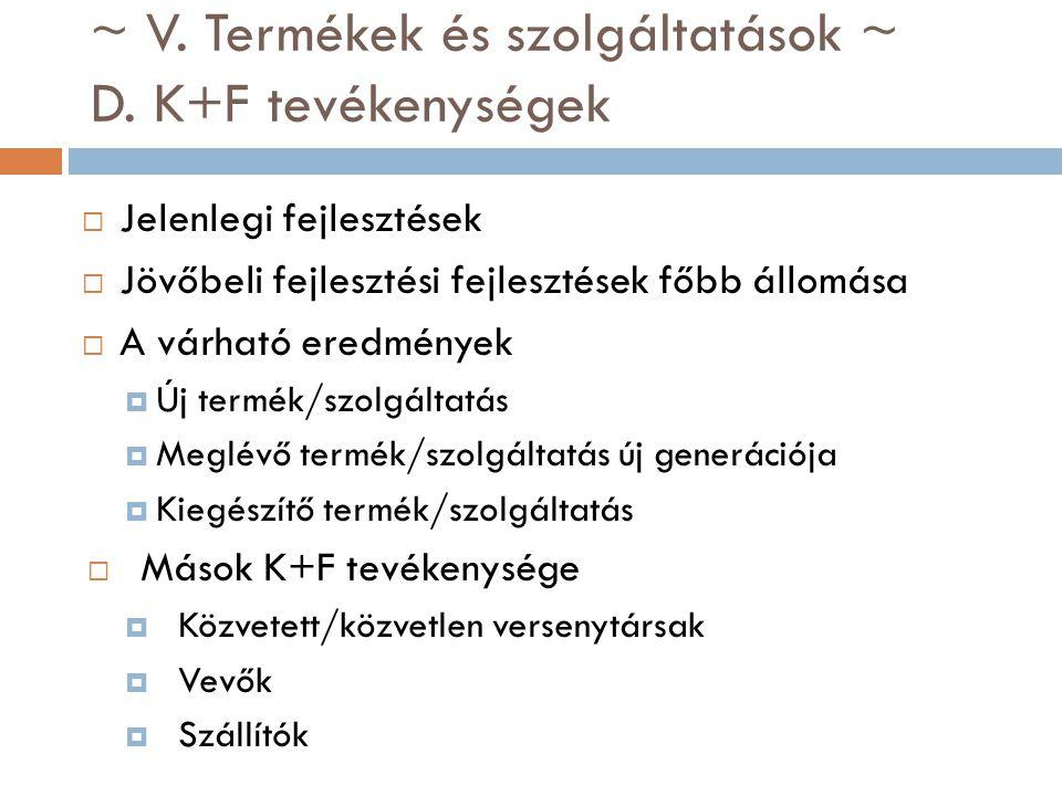 ~ V. Termékek és szolgáltatások ~ D. K+F tevékenységek