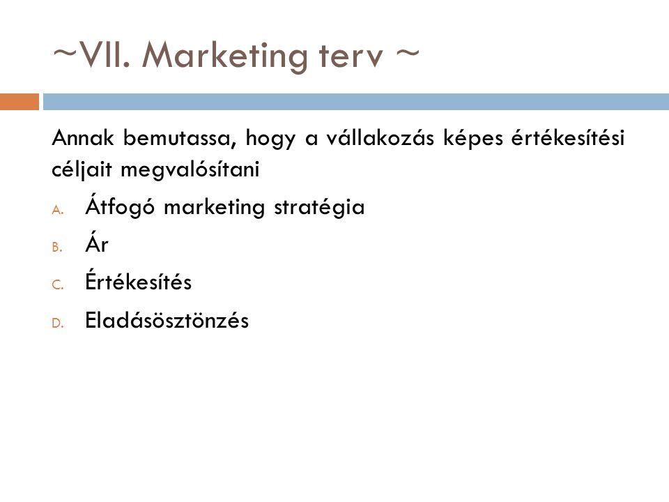 ~VII. Marketing terv ~ Annak bemutassa, hogy a vállakozás képes értékesítési céljait megvalósítani.