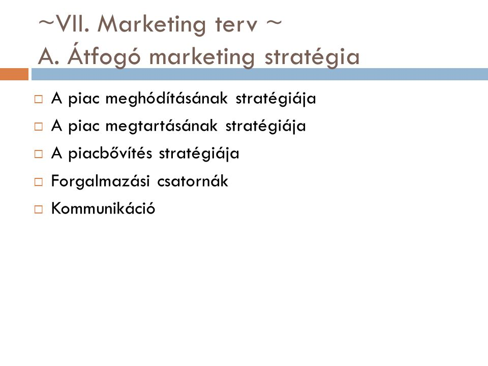 ~VII. Marketing terv ~ A. Átfogó marketing stratégia