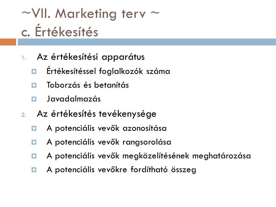 ~VII. Marketing terv ~ c. Értékesítés