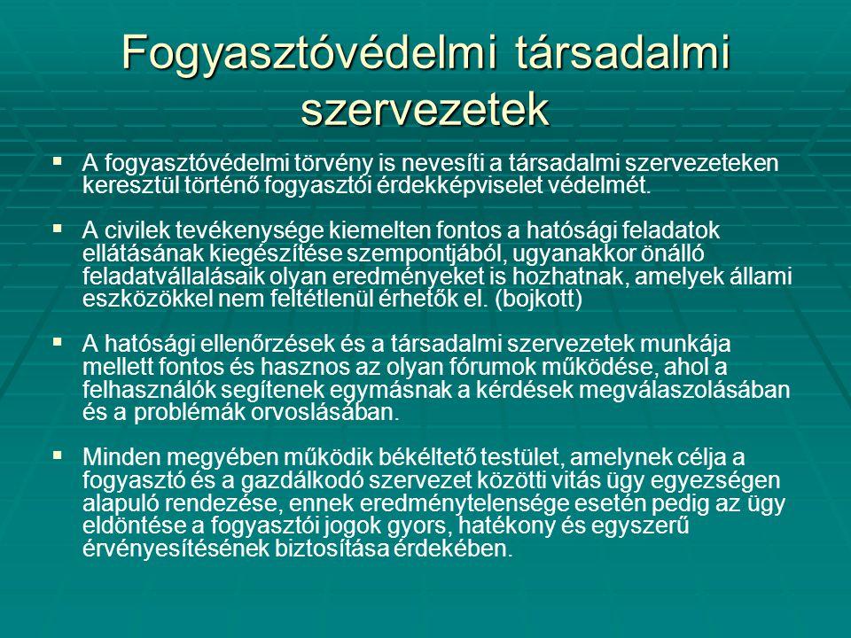 Fogyasztóvédelmi társadalmi szervezetek