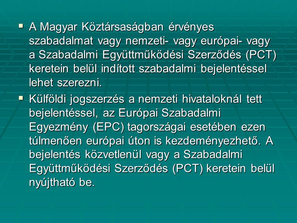 A Magyar Köztársaságban érvényes szabadalmat vagy nemzeti- vagy európai- vagy a Szabadalmi Együttműködési Szerződés (PCT) keretein belül indított szabadalmi bejelentéssel lehet szerezni.