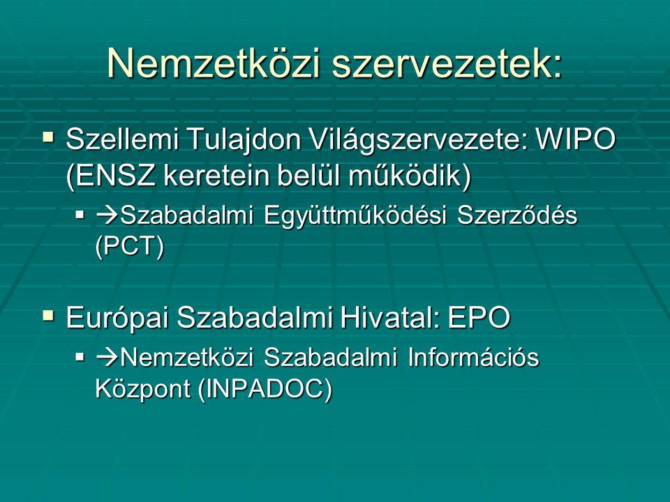 Nemzetközi szervezetek: