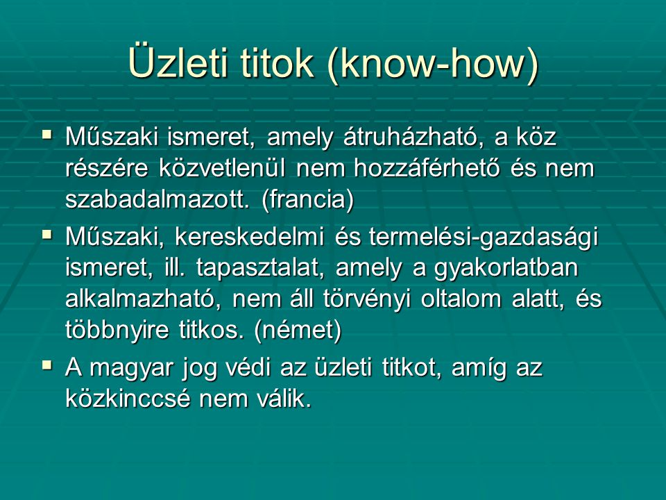 Üzleti titok (know-how)