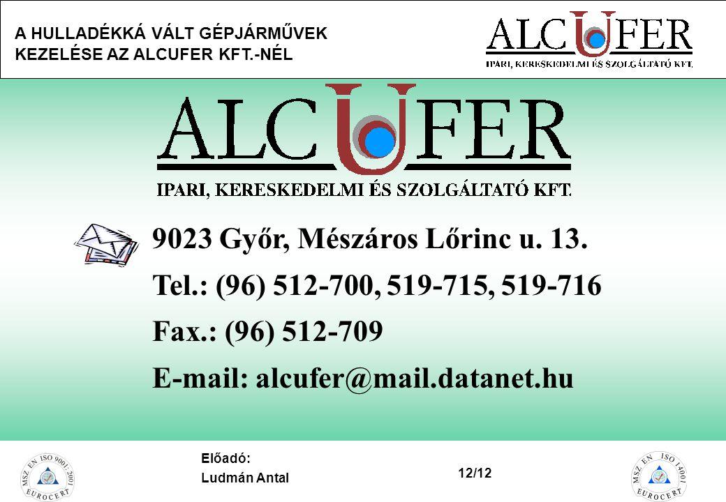 9023 Győr, Mészáros Lőrinc u. 13. Tel.: (96) 512-700, 519-715, 519-716.
