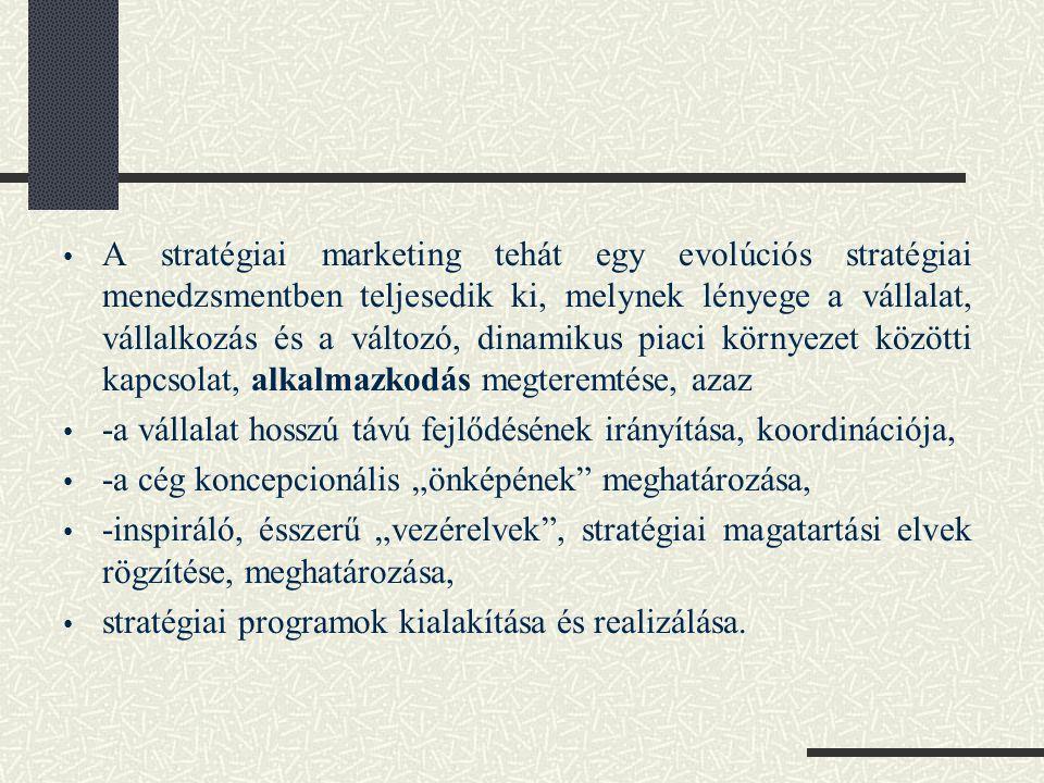 A stratégiai marketing tehát egy evolúciós stratégiai menedzsmentben teljesedik ki, melynek lényege a vállalat, vállalkozás és a változó, dinamikus piaci környezet közötti kapcsolat, alkalmazkodás megteremtése, azaz