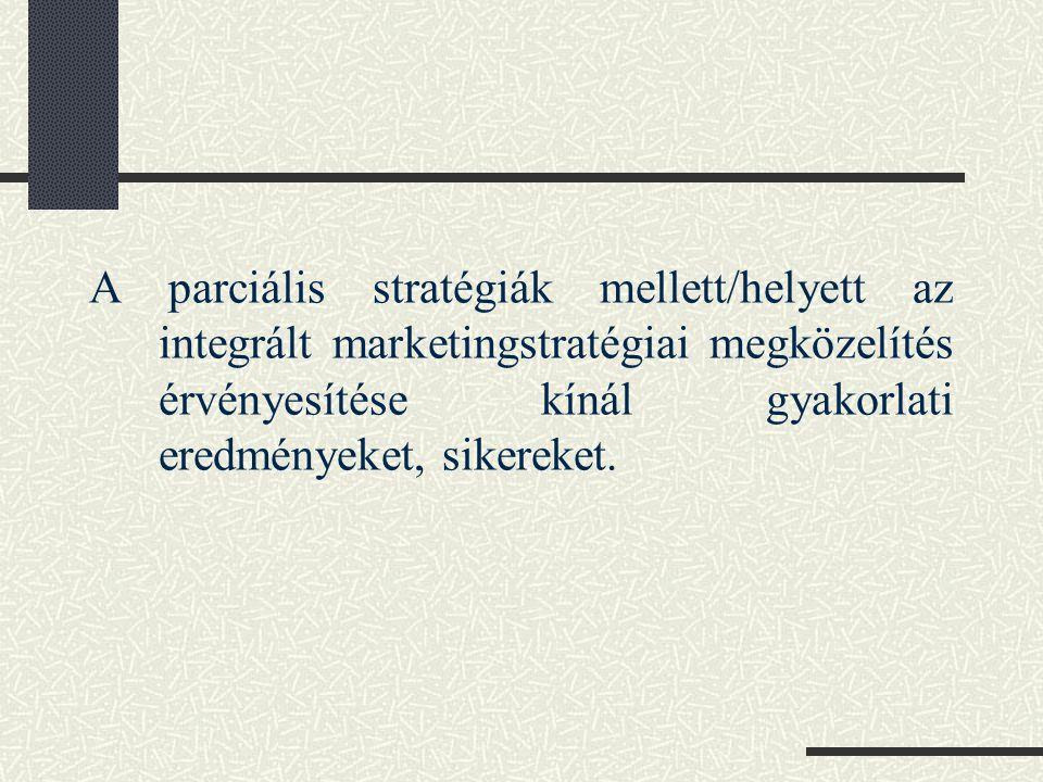 A parciális stratégiák mellett/helyett az integrált marketingstratégiai megközelítés érvényesítése kínál gyakorlati eredményeket, sikereket.