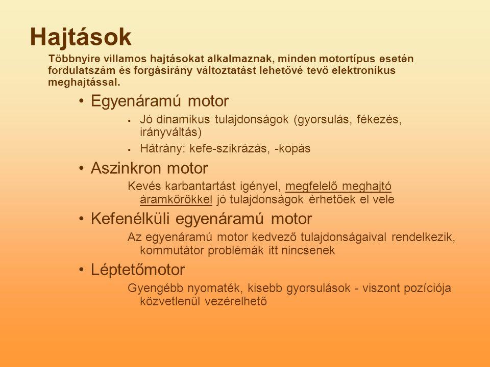 Hajtások Egyenáramú motor Aszinkron motor Kefenélküli egyenáramú motor