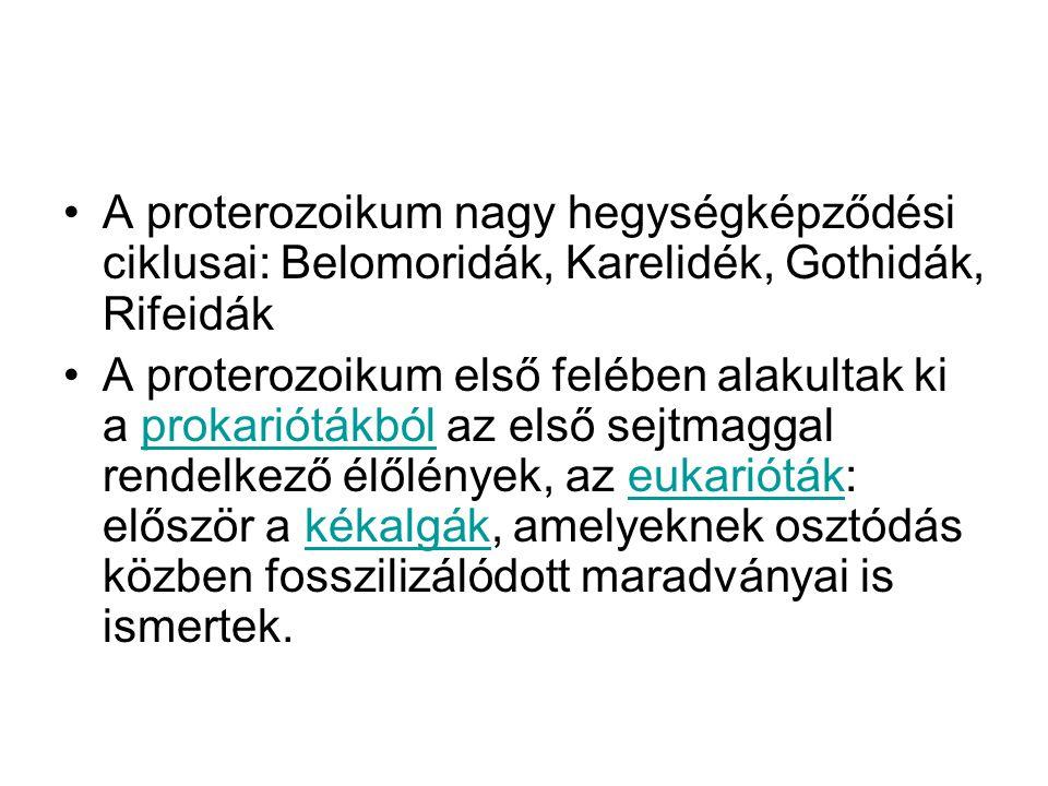 A proterozoikum nagy hegységképződési ciklusai: Belomoridák, Karelidék, Gothidák, Rifeidák