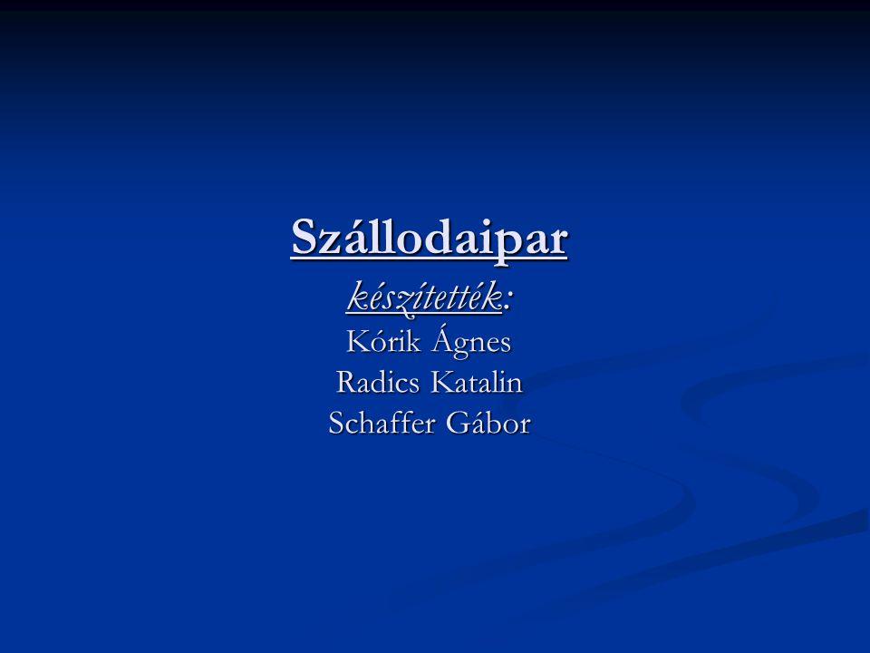 Szállodaipar készítették: Kórik Ágnes Radics Katalin Schaffer Gábor