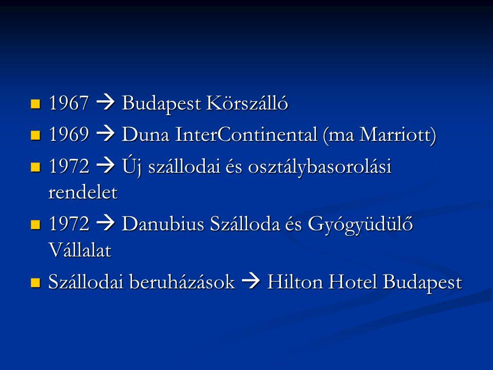 1967  Budapest Körszálló 1969  Duna InterContinental (ma Marriott) 1972  Új szállodai és osztálybasorolási rendelet.