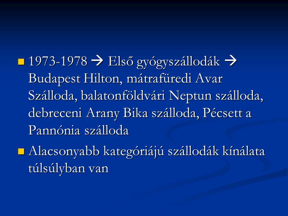 1973-1978  Első gyógyszállodák  Budapest Hilton, mátrafüredi Avar Szálloda, balatonföldvári Neptun szálloda, debreceni Arany Bika szálloda, Pécsett a Pannónia szálloda