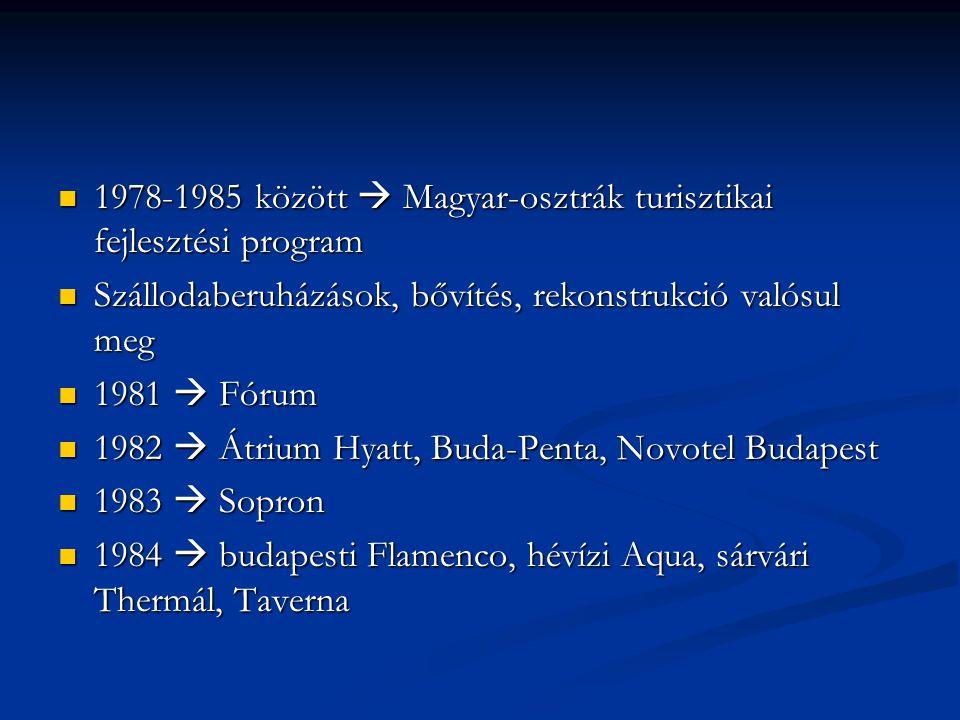 1978-1985 között  Magyar-osztrák turisztikai fejlesztési program