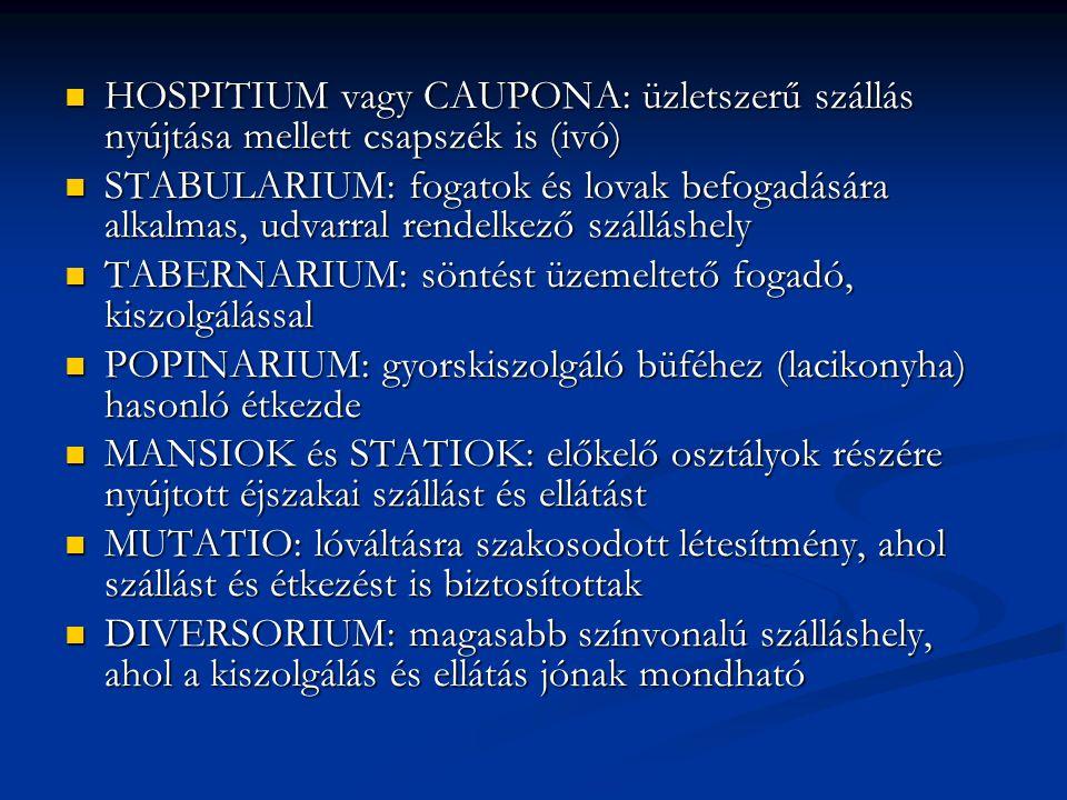 HOSPITIUM vagy CAUPONA: üzletszerű szállás nyújtása mellett csapszék is (ivó)