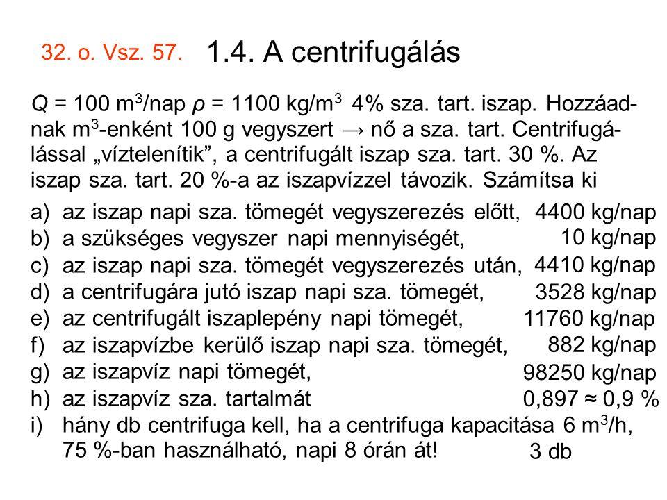 1.4. A centrifugálás 32. o. Vsz. 57.