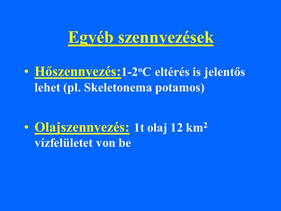 Egyéb szennyezések Hőszennyezés:1-2oC eltérés is jelentős lehet (pl.