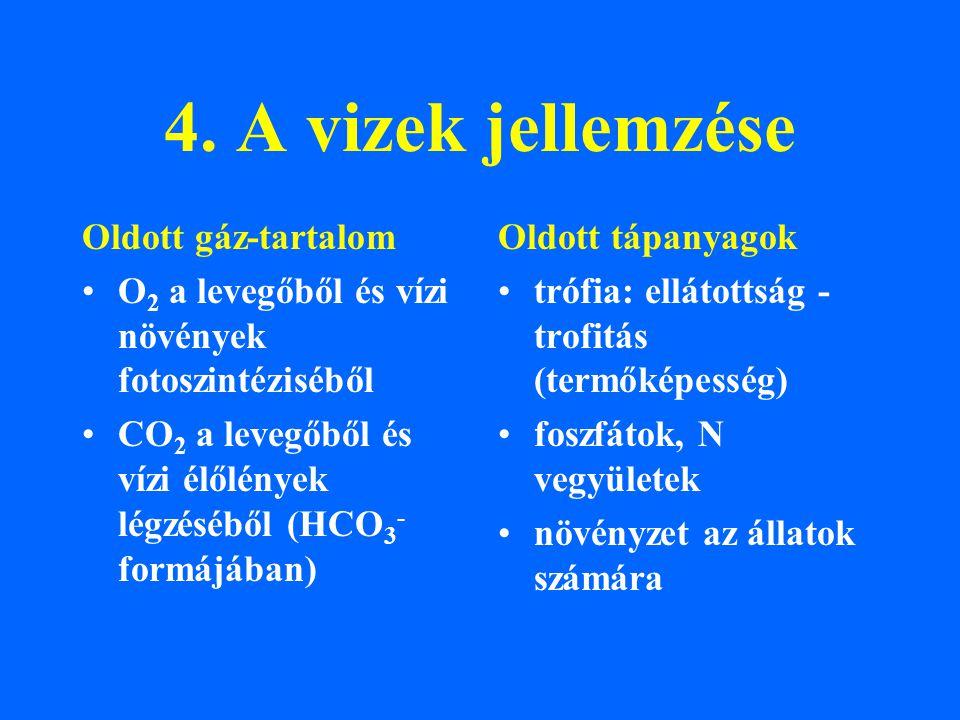 4. A vizek jellemzése Oldott gáz-tartalom