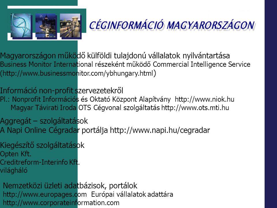 Magyarországon működő külföldi tulajdonú vállalatok nyilvántartása