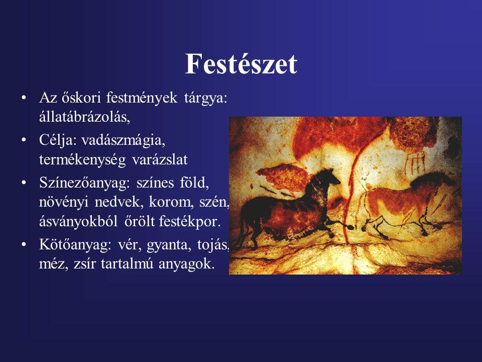 Festészet Az őskori festmények tárgya: állatábrázolás,