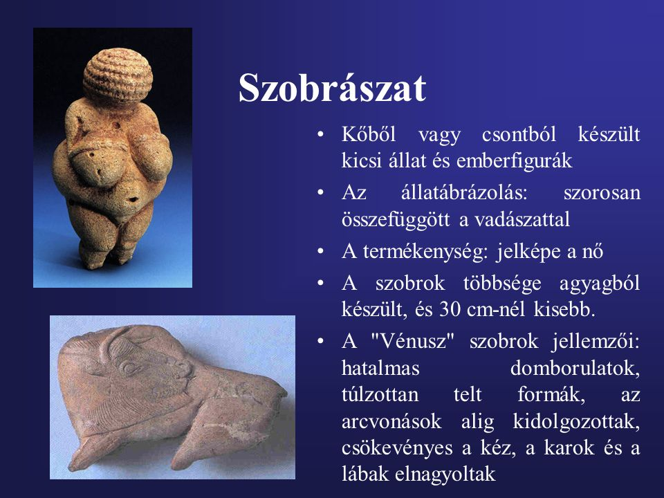 Szobrászat Kőből vagy csontból készült kicsi állat és emberfigurák