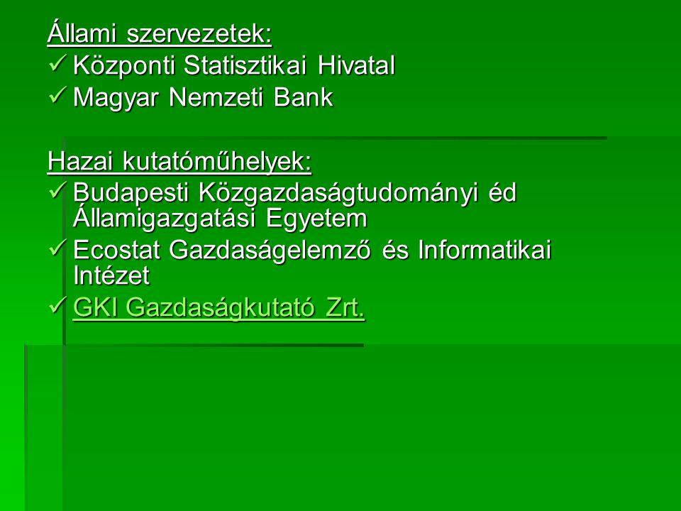 Állami szervezetek: Központi Statisztikai Hivatal. Magyar Nemzeti Bank. Hazai kutatóműhelyek: