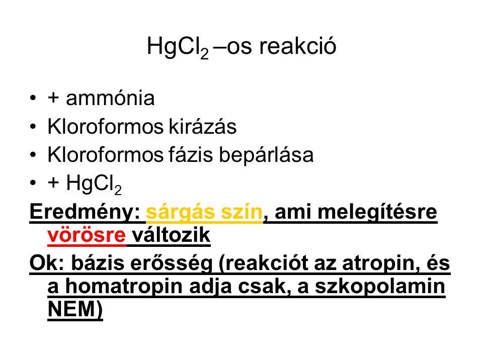 HgCl2 –os reakció + ammónia Kloroformos kirázás