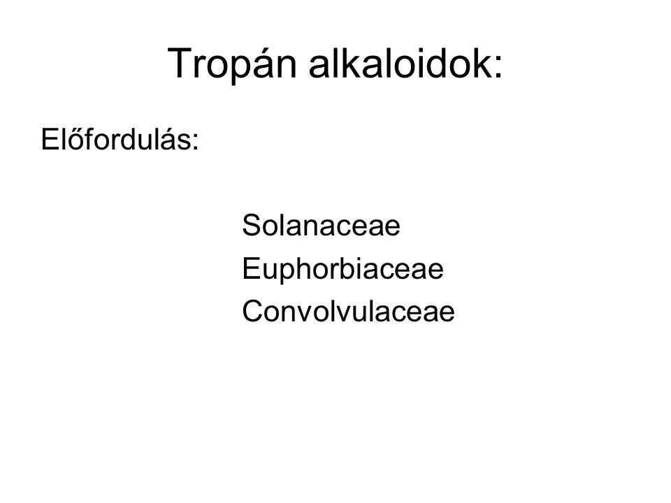 Tropán alkaloidok: Előfordulás: Solanaceae Euphorbiaceae