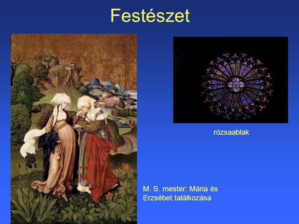 Festészet rózsaablak M. S. mester: Mária és Erzsébet találkozása