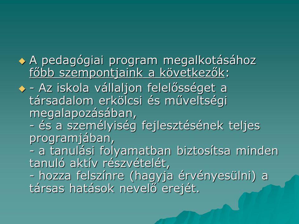A pedagógiai program megalkotásához főbb szempontjaink a következők: