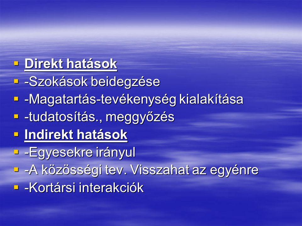 Direkt hatások -Szokások beidegzése. -Magatartás-tevékenység kialakítása. -tudatosítás., meggyőzés.
