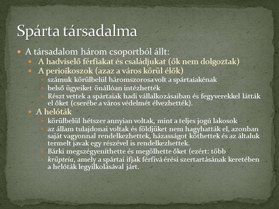 Spárta társadalma A társadalom három csoportból állt: