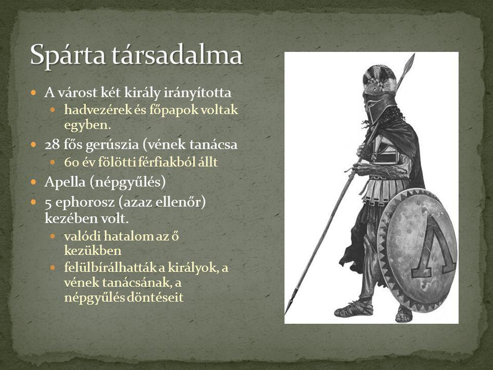Spárta társadalma A várost két király irányította