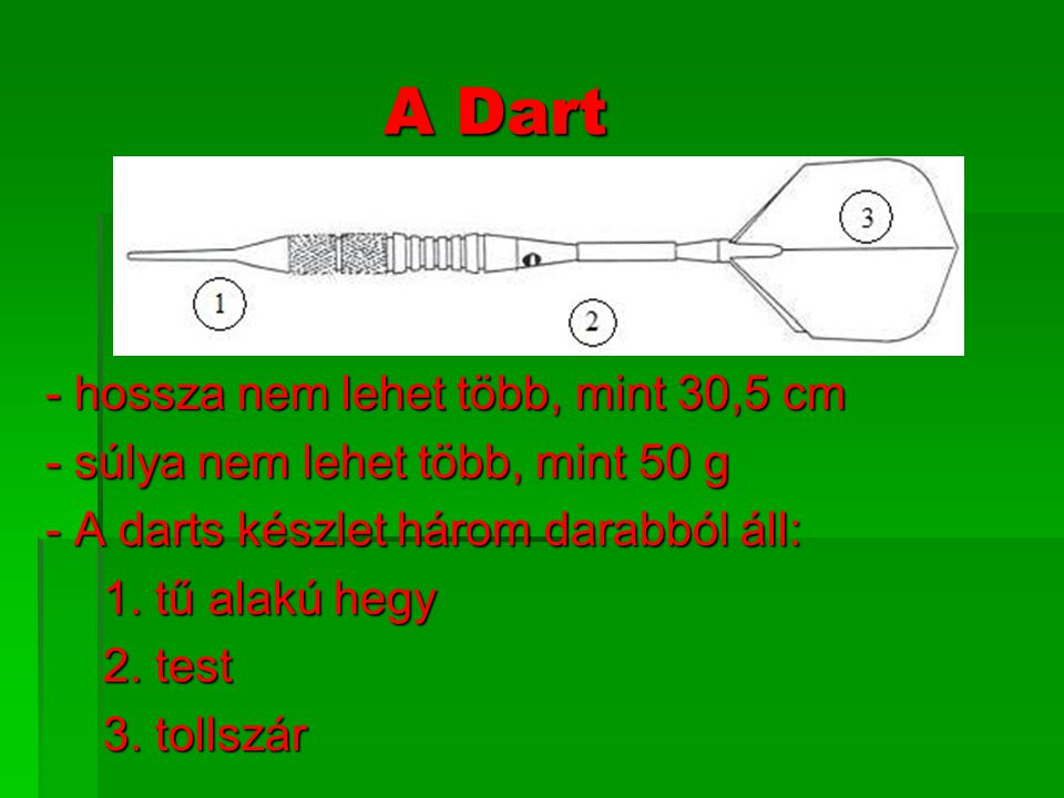 A Dart - hossza nem lehet több, mint 30,5 cm
